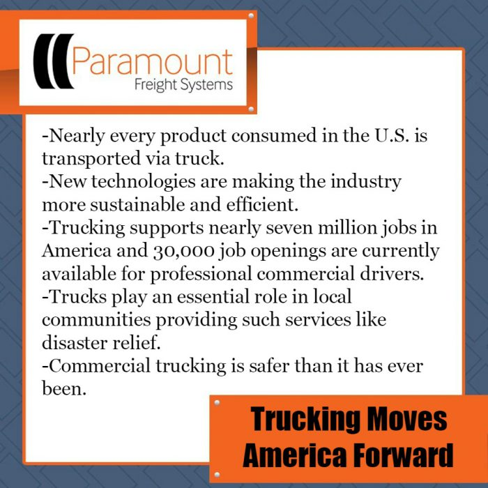 Nearly every product consumed in the U.S. is transported via truck. New technologies are making the industry more sustainable and efficient. Trucking supports nearly seven million jobs in America and 30,000 job openings are currently available for professional commercial drivers. Trucks play an essential role in local communities providing such services like disaster relief. Commercial trucking is safer than it has ever been.